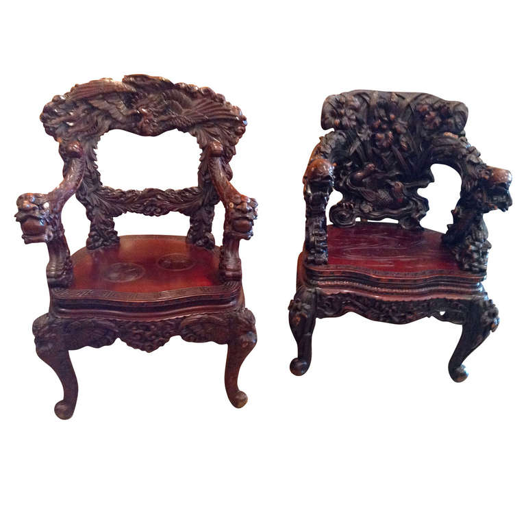 Chinese arm chair carved rosewood ornate at stdibs