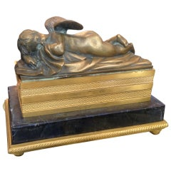 19th Century French Bronze Box/Casket with a Resting Putti