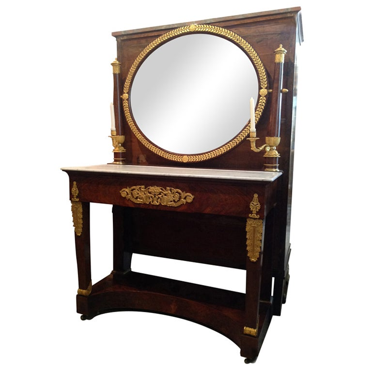French Mahogany And Marble Dressing Table Vanity Console