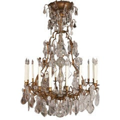 Important French Louis XV Bronze and Crystal Chandelier, 19th Century