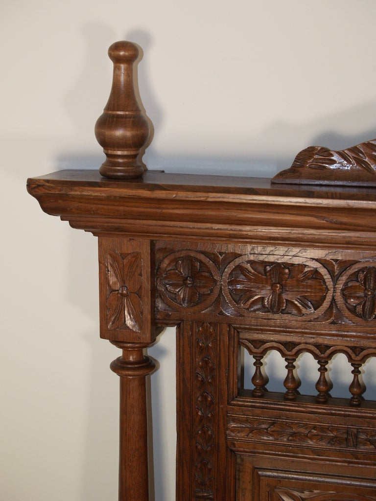 French hand heavily carved walnut brittany bed head th