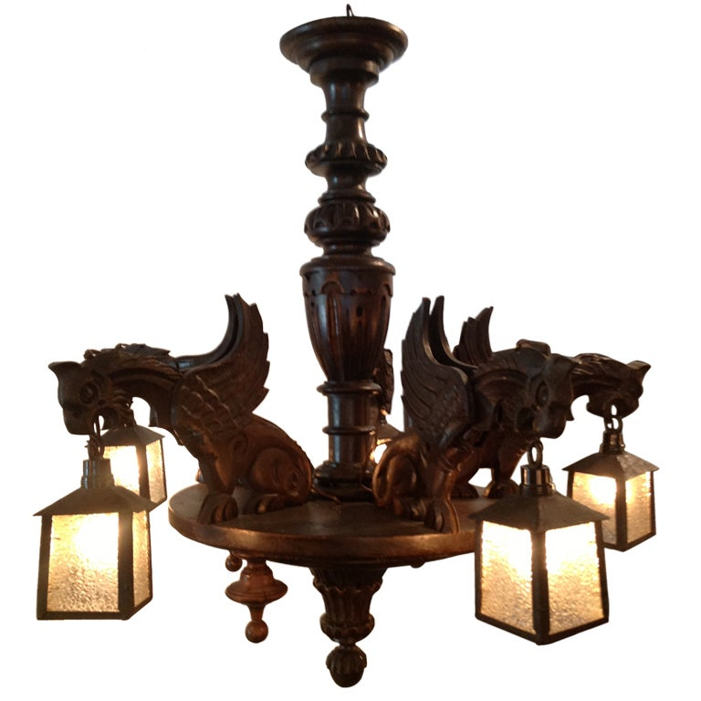 Black Forest Chandelier With Dragons And Slag Glass Shades
