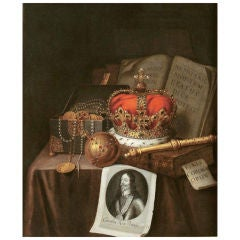 "Oil on Canvas, ""Crown Jewels"",  s. Evert Collier London 1707, 18th Century"