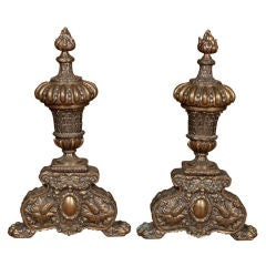 Huge Pair French Bronze Andirons, Ornate w/ Urn & Flame Finials, 19th Century