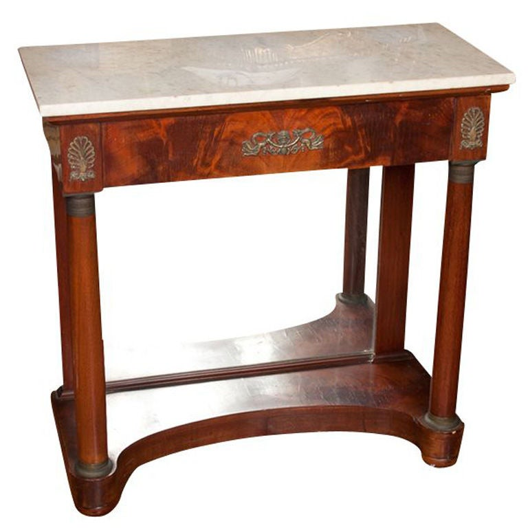 Yellow Marble Coffee Table: Empire Petticoat Console With Marble Top And Mirrored Back
