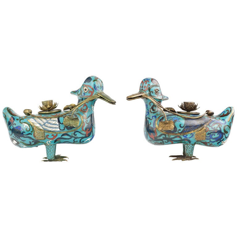 A pair of cloisonn mandarin ducks on a large wood stand for Cloison stand