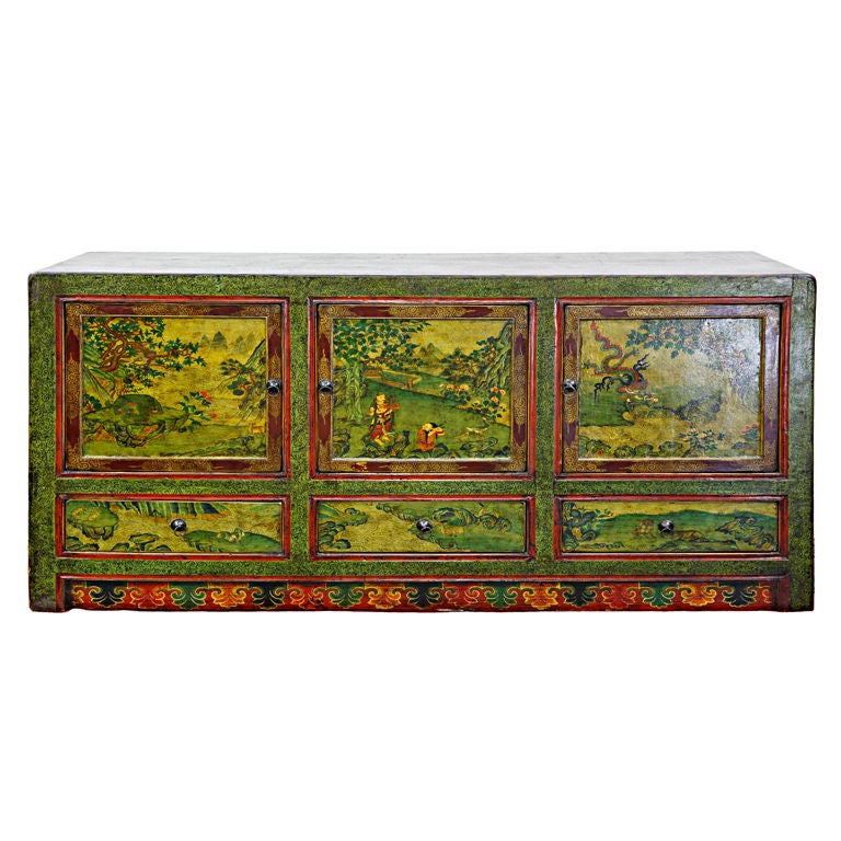 A finely hand painted tibetan buffet style cabinet at 1stdibs for Hand painted oriental furniture