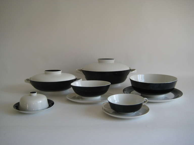 Set For 12 1960s Black And White Rosenthal China Germany