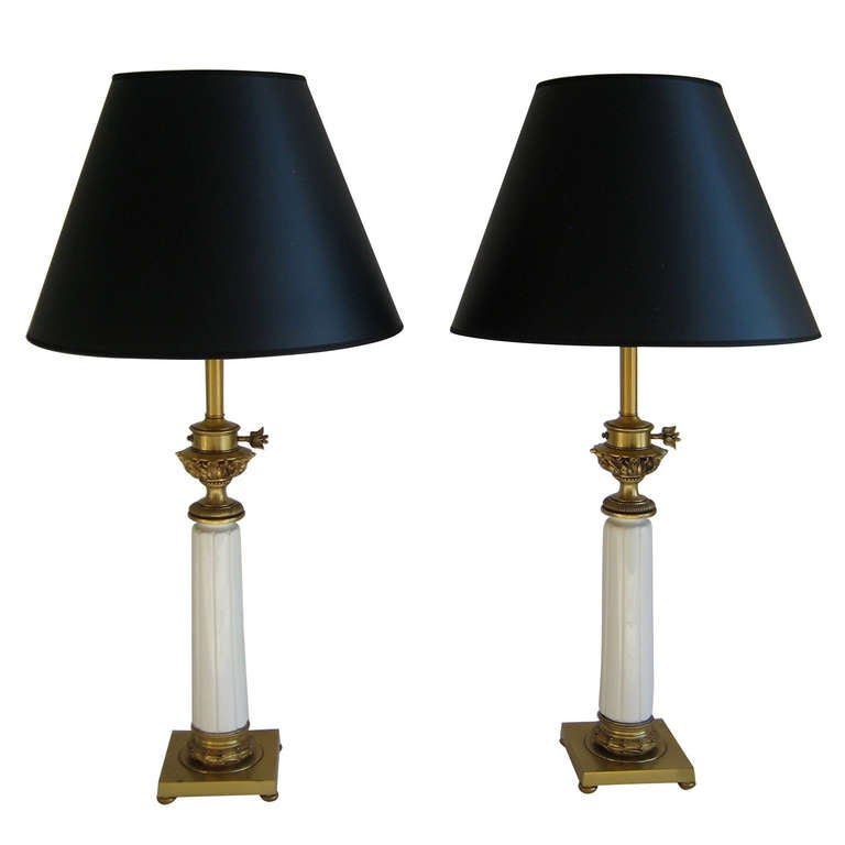 Pair of Mid-Century Stiffel Table Lamps Ornate Brass and Ceramic