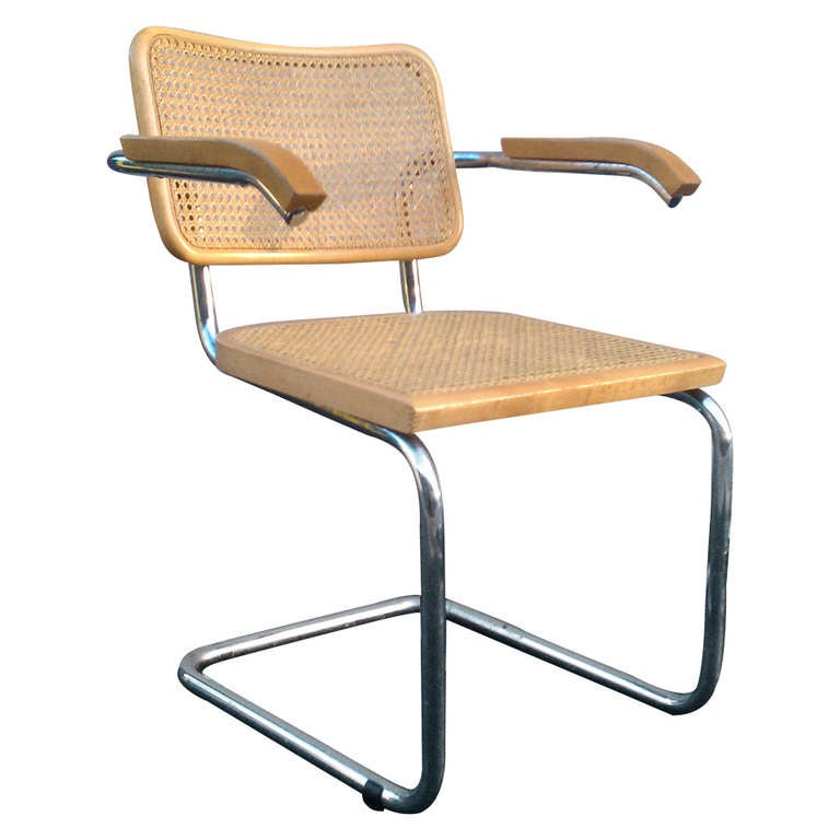 mid century marcel breuer cane cesca chair at 1stdibs. Black Bedroom Furniture Sets. Home Design Ideas
