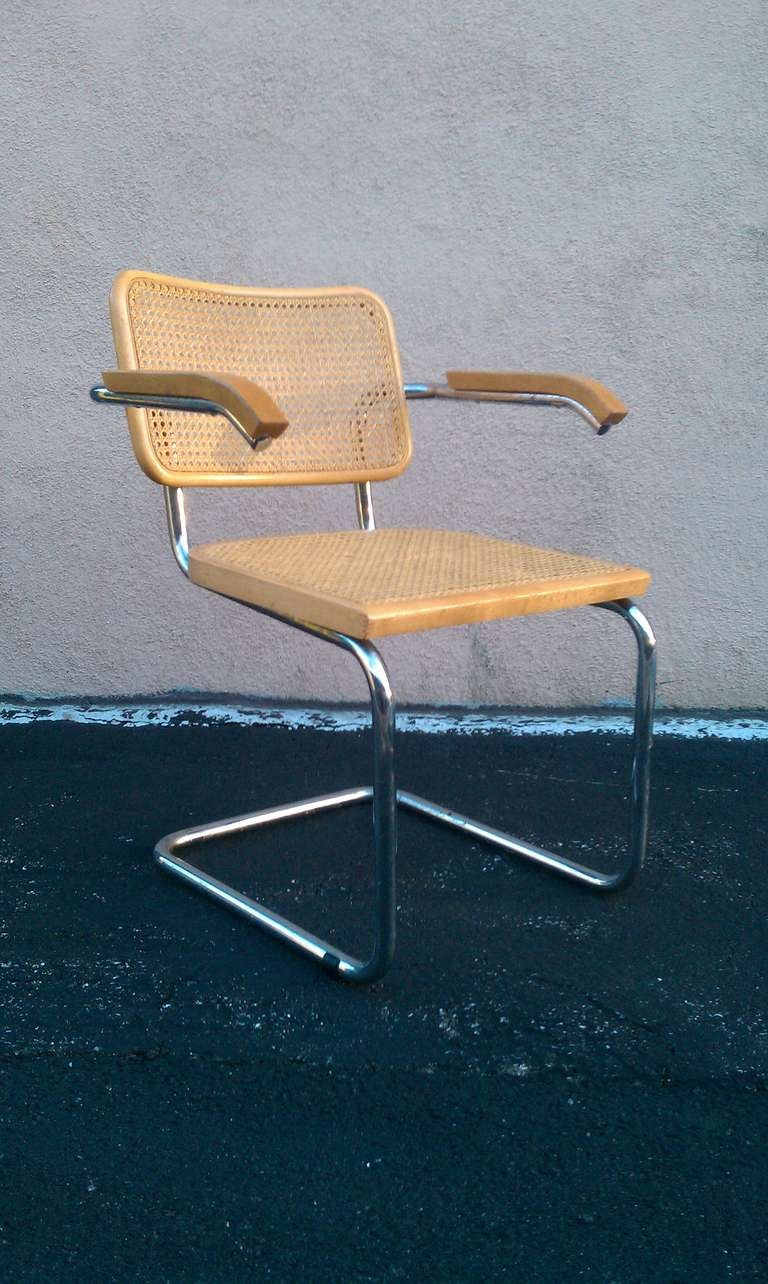 1970s midcentury Marcel Breuer Cesca caned chair / chairs. Chrome frame. Sold individually. However, we do have multiples of these chairs.