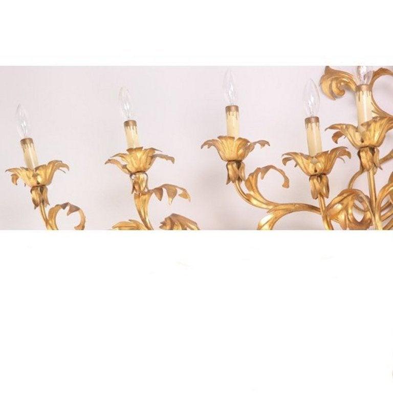 Hollywood Regency Monumental Italian Gilded Mid Century Nine-Arm Regency Lighted Sconce 5ft For Sale