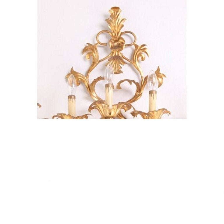 Monumental Italian Gilded Mid Century Nine-Arm Regency Lighted Sconce 5ft In Excellent Condition For Sale In New York, NY