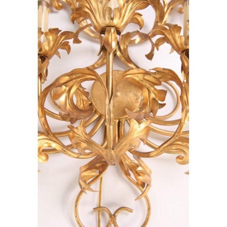 20th Century Monumental Italian Gilded Mid Century Nine-Arm Regency Lighted Sconce 5ft For Sale