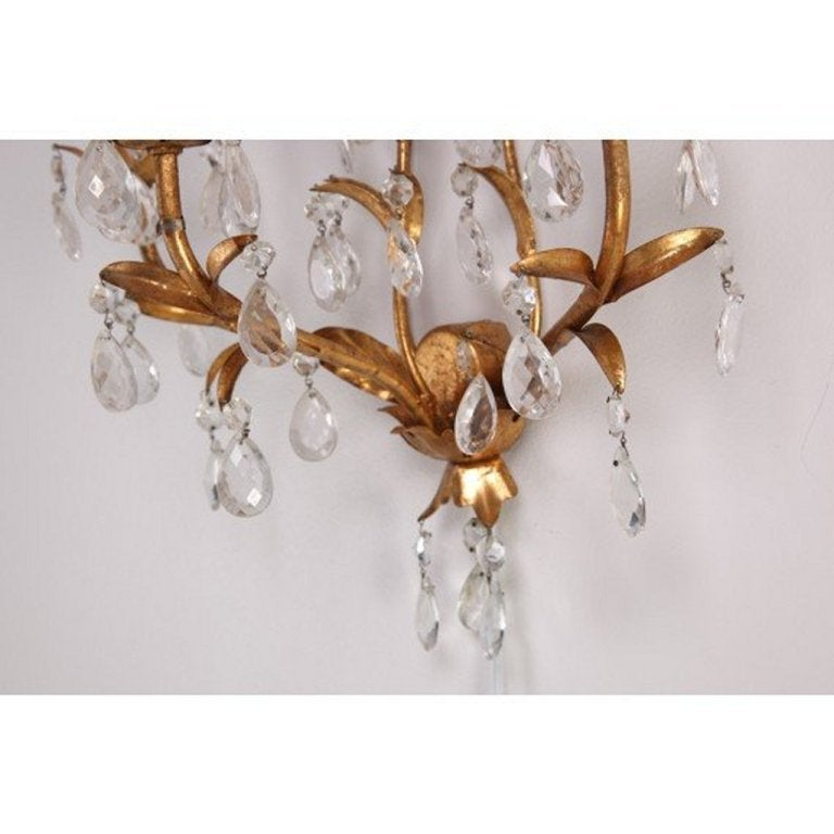 Pair of Italian Mid Century Gilded Crystal Lighted Wall Sconces at 1stdibs