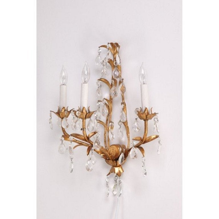 Pair of Italian Mid Century Gilded Crystal Lighted Wall Sconces For Sale at 1stdibs