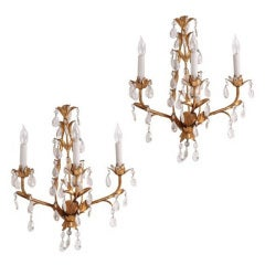 Pair of Italian Mid Century Gilded Crystal Lighted Wall Sconces