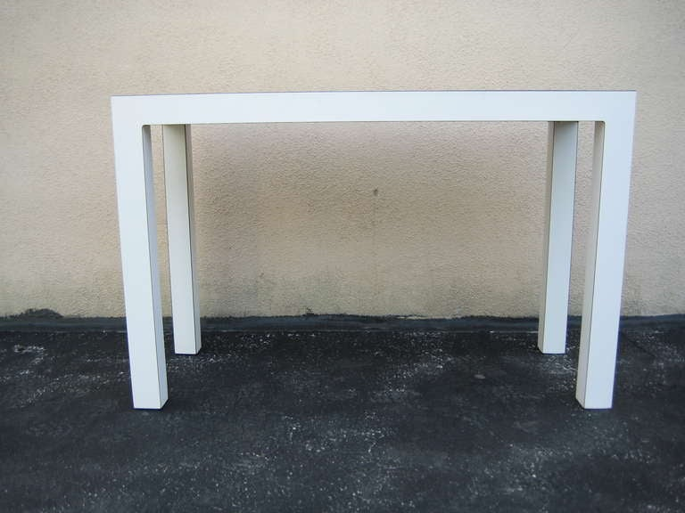 1970s White Parsons Table Or Desk At 1stdibs