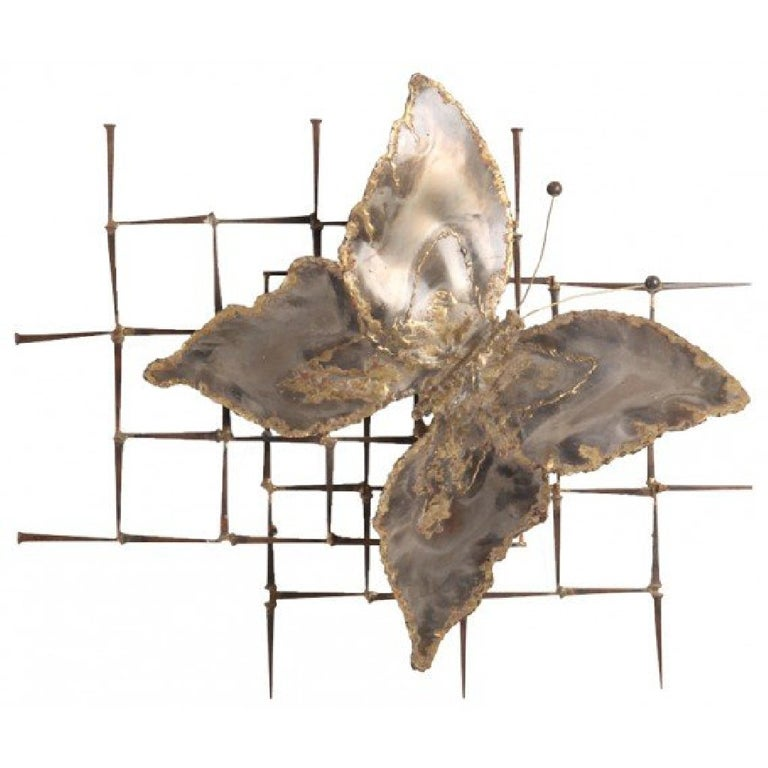 Wall Sculpture Metal mid-century modernist metal butterfly hanging wall sculpture for