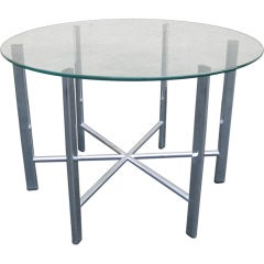 1970s Chrome and Glass Round Coffee or End Table