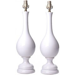 Pair of  Large White Glazed Ceramic Table Lamps