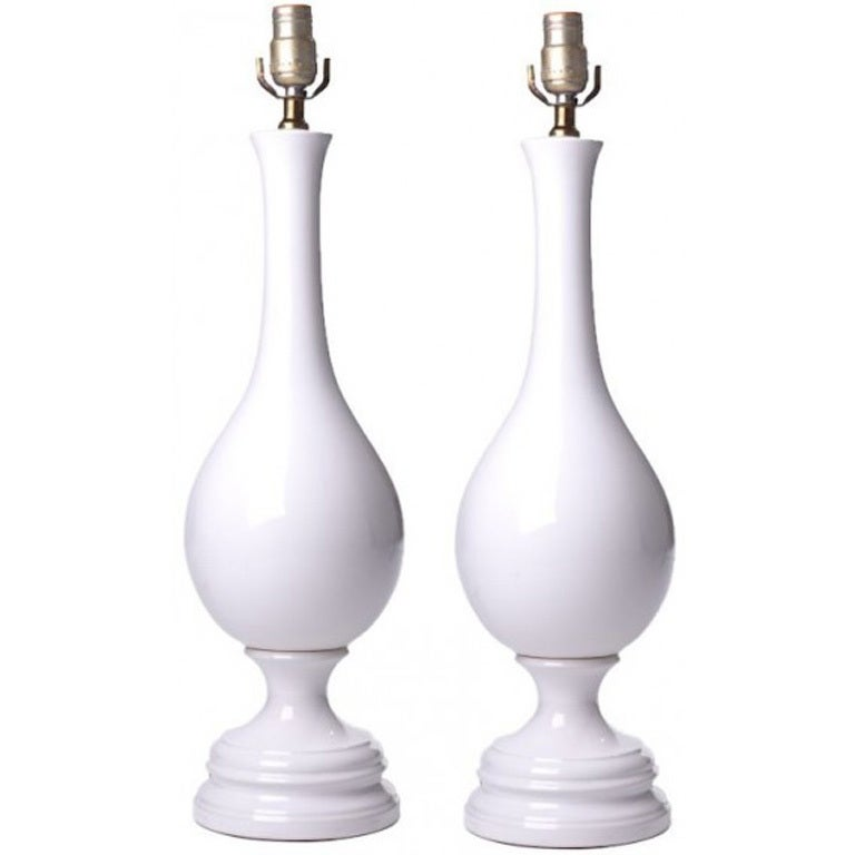 Pair of  Large White Glazed Ceramic Table Lamps For Sale
