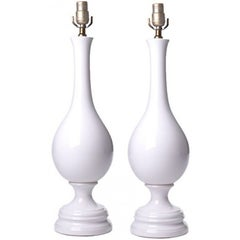 Mid Century Pair of  Large White Glazed Ceramic Table Lamps