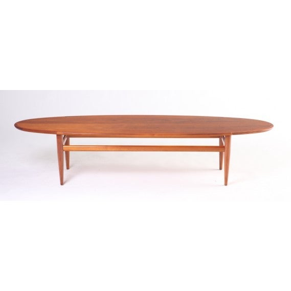 Mid Century Drexel Heritage Walnut Surfboard Coffee Table
