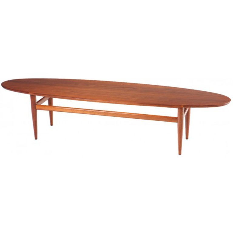 Mid Century Drexel Heritage Walnut Surfboard Coffee Table For