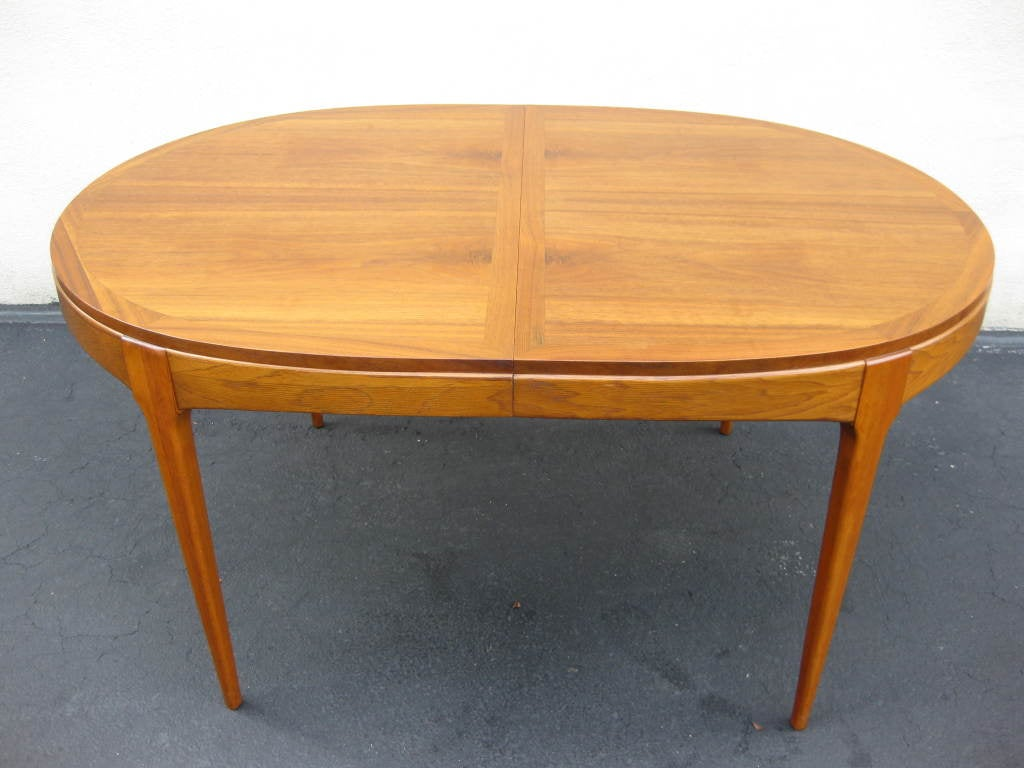 this walnut dining table by lane 2 leaves to seat 4 8 is no longer