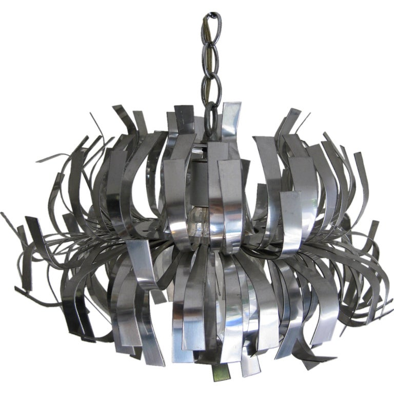 Whimsical mod stainless steel hanging lamp or chandelier for sale whimsical mod stainless steel hanging lamp or chandelier for sale aloadofball Images