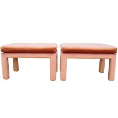 Pair of Midcentury Velvet Upholstered Benches by Drexel