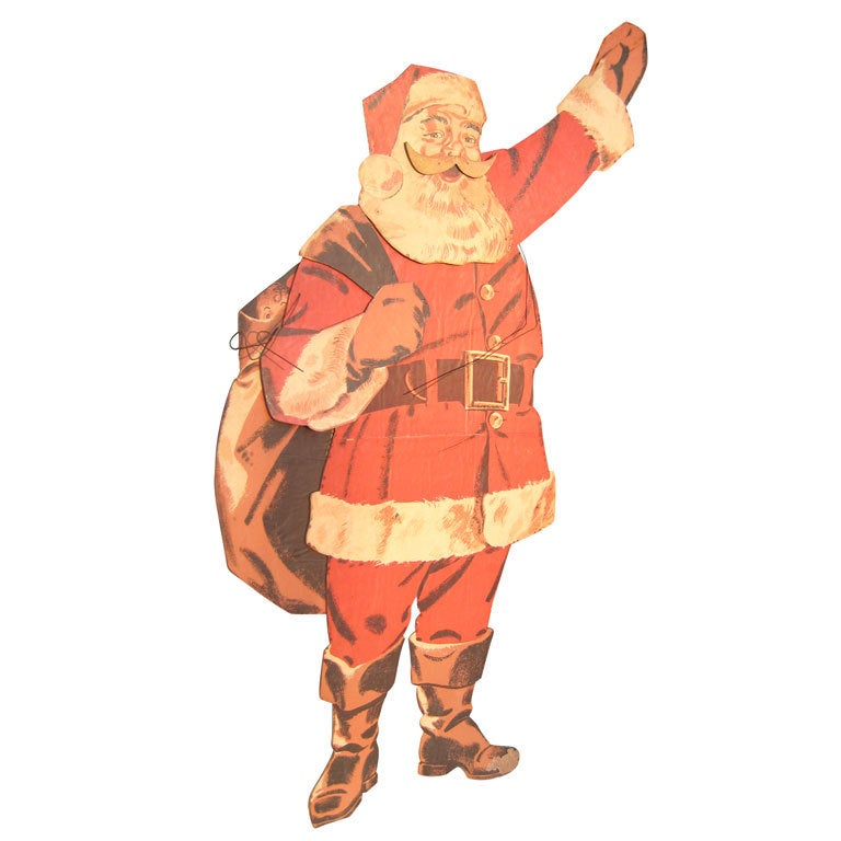 1940s Large Life Size Santa Claus Christmas Decoration Display
