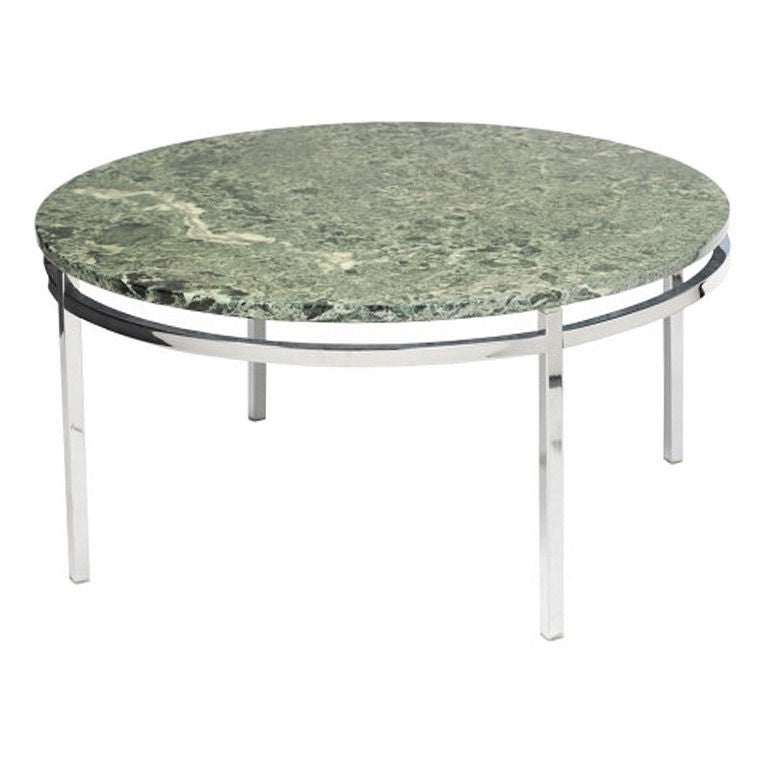 Round Marble And Chrome Coffee Table, 1969 At 1stdibs