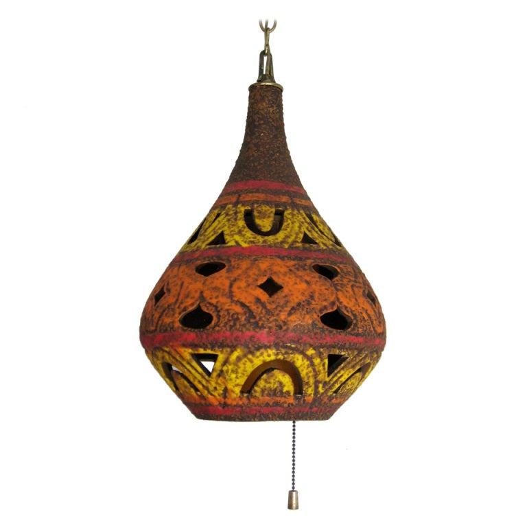 mid century glazed pottery hanging lamp for sale at 1stdibs. Black Bedroom Furniture Sets. Home Design Ideas