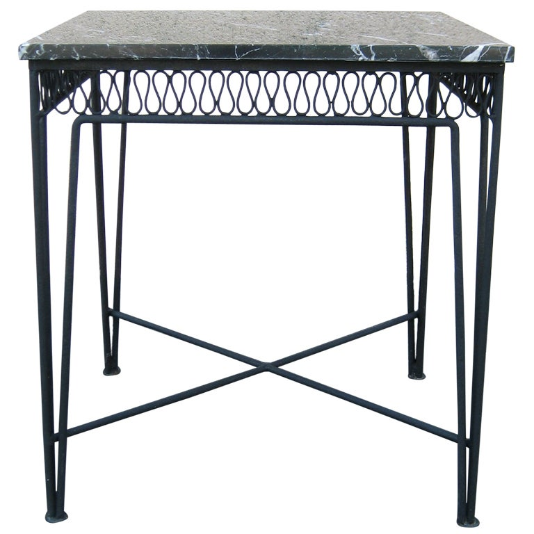 Maurizio Tempestini for Salterini Marble and Wrought Iron Side or End Table
