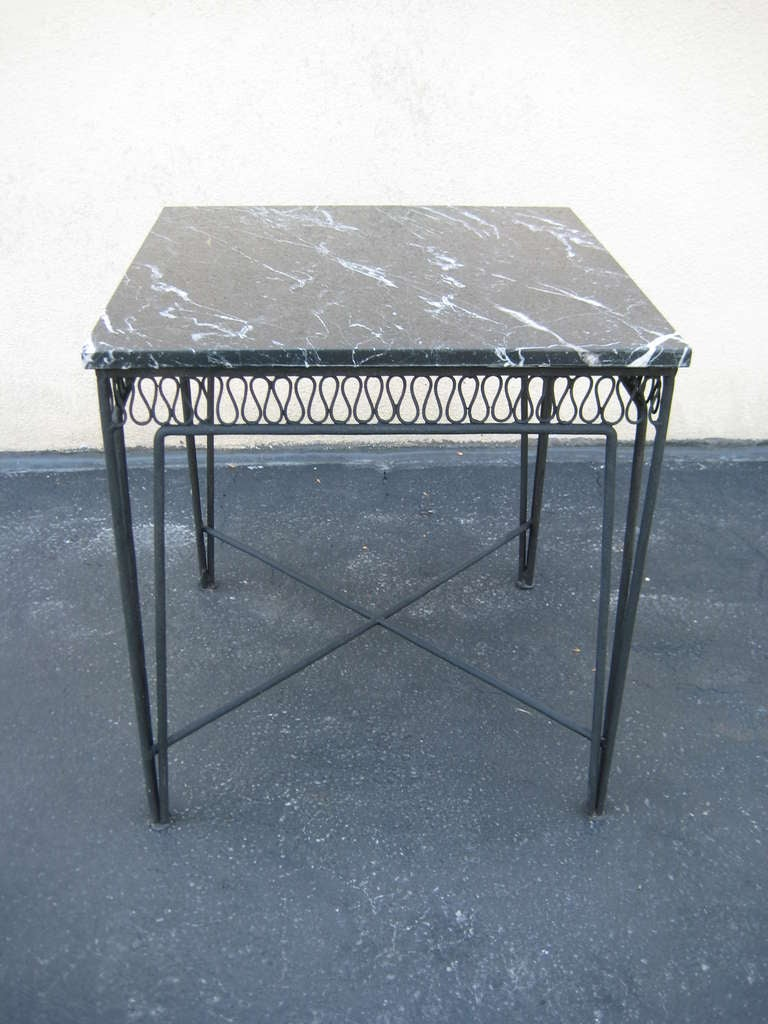 Maurizio tempestini for salterini marble and wrought iron for Wrought iron side table