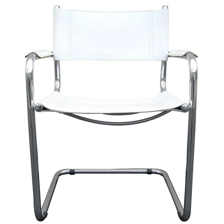 Superb Marcel Breuer White Leather And Chrome Chair, Italy 1