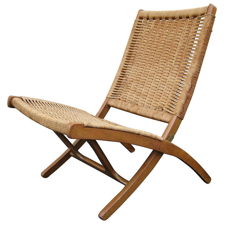Woven Folding Chair in the Style of Hans Wegner