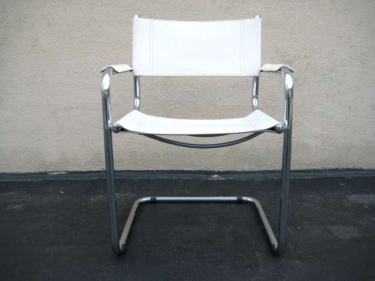 Marcel Breuer White Leather and Chrome Chair Italy at 1stdibs