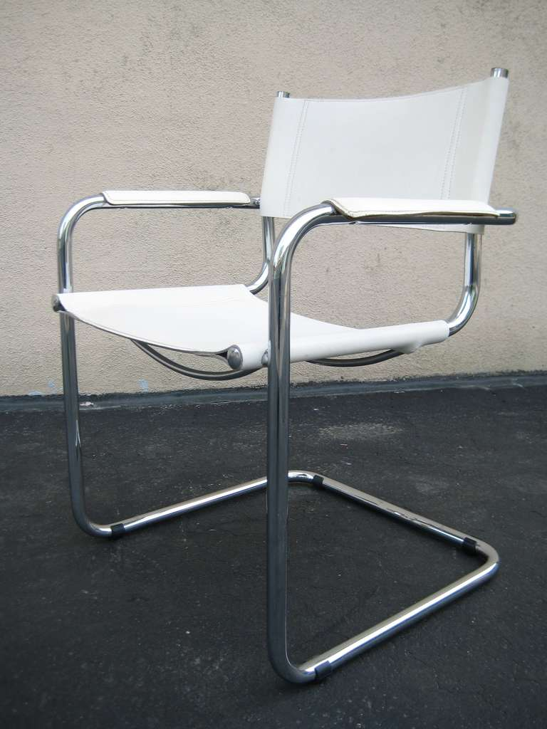 Italian Marcel Breuer White Leather And Chrome Chair, Italy For Sale