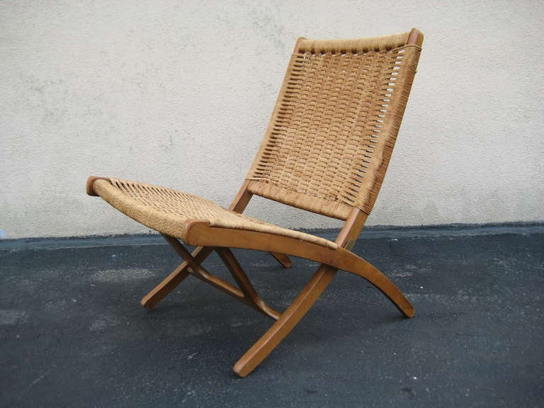 Wood Frame. Woven Rope Seat And Back. Excellent Scructural Condition With  Exception Of Exhibiting