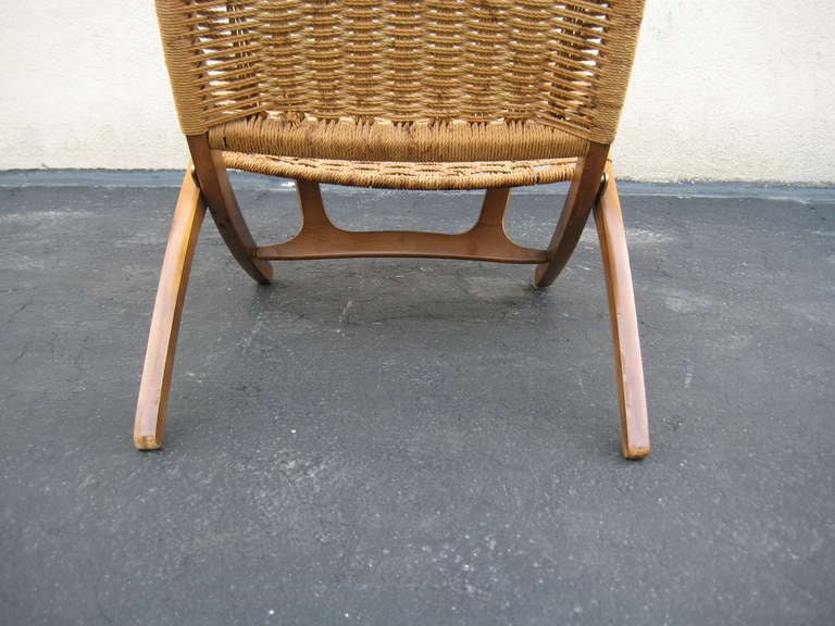 Woven Folding Chair in the Style of Hans Wegner 2