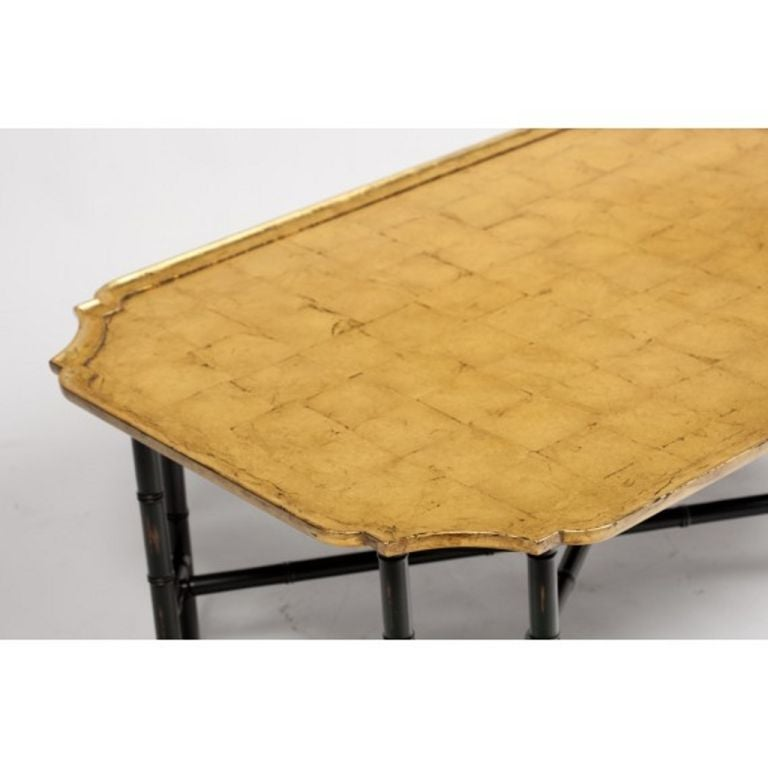 Coffee Table Legs Gold: Kittinger Coffee Table Gilded Gold Leaf Top Ebony Bamboo