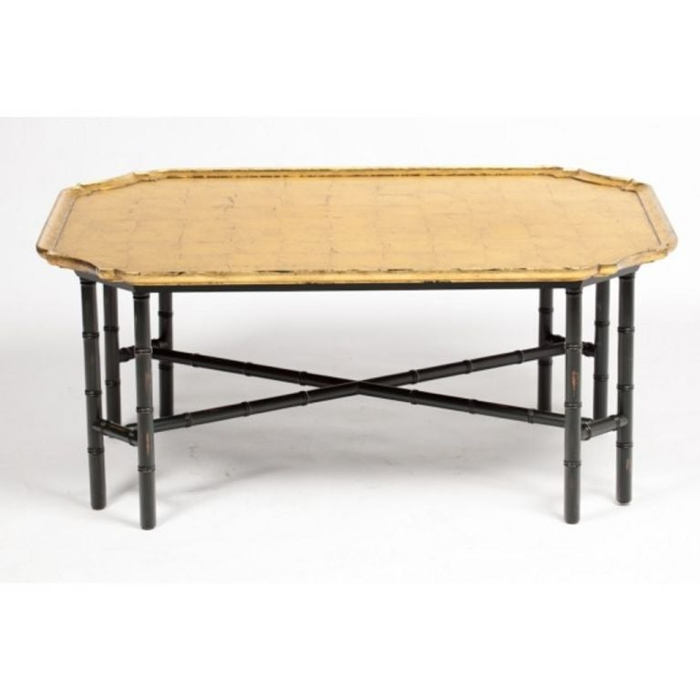 Kittinger Coffee Table Gilded Gold Leaf Top Ebony Bamboo Legs At 1stdibs