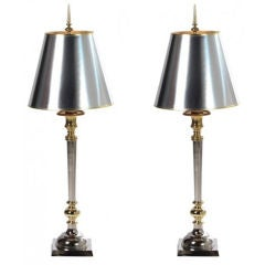 Midcentury Chrome and Brass Lamps