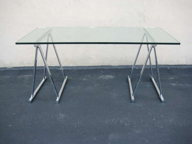 Italian Mid Century Glass And Chrome Saw Horse Table Or Desk 3