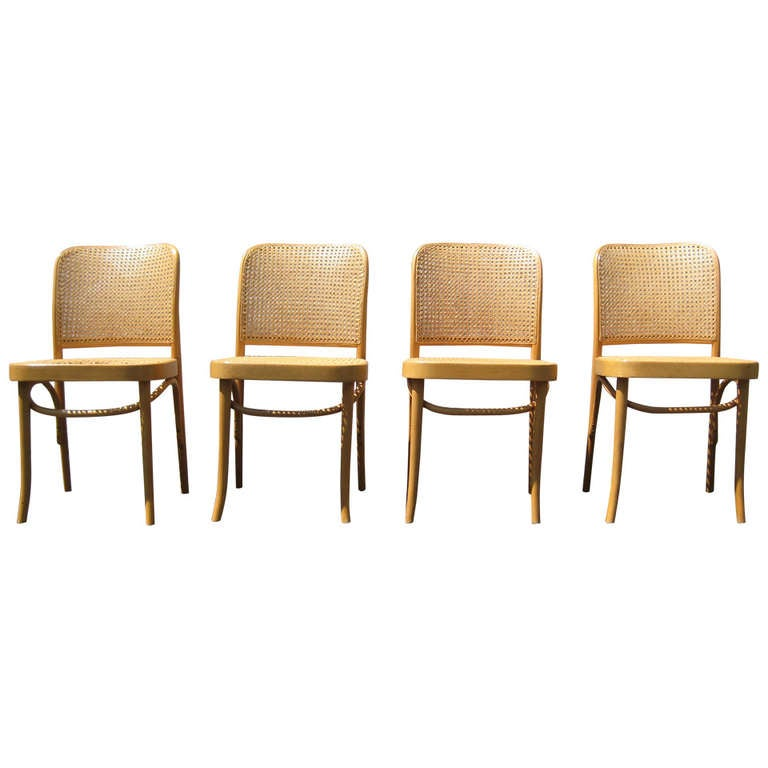 Set Of 4 Josef Hoffmann Bentwood And Cane Chairs Poland For