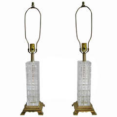 Pair of Mid Century Crystal and Brass Table Lamps