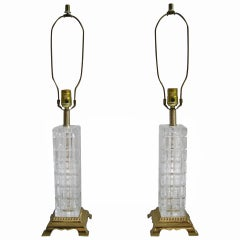 Pair of Mid Century Glass and Brass Table Lamps